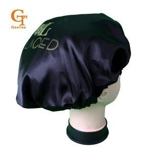 Custom Shop Name Seidensatin Motorhaube, maßgeschneiderte Luxusmarke Doppelschicht Virgin Haarverlängerungen / Haar-Perücken Schlaf Satinseide Motorhaube