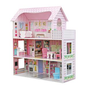 3 couche Mignon Mini Pretend en bois de jeu Kid Kids House Doll Dollhouse Mansion Meubles Rose Cadeaux pour enfants