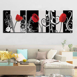 3 Panel Red Tulip Flower Wall Art Pictures Canvas Painting HD Prints And Posters For Living Room Home Decoration