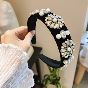Korean Jewelry Hair Hoops Velvet Rhinestone Hairband Ladies Fashion Designer Temperament Headband Retro Palace Wide-brimmed Hairpin