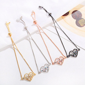 Charm CZ Heart Bracelet For Women Pulseira Feminina 2020 Fashion Copper Bracelet Adjustable ITHA#