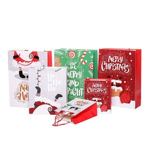Paper Cartoon Printed Merry Christmas Shopping Gift Bag Jewellery Cosmetic Stuff with Handle S M L