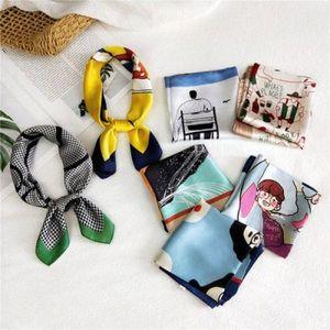 53 * 53CM SATIN SILK SHARF PRINT POLURARD HARK HALK HEAL Шелковый квадратный галстук шеи Hijab для женской сумки HZ4Y #