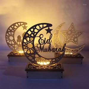 Lua de madeira em forma de muçulmano levou lâmpada mesa ornamento festival decoração nova gwe4486
