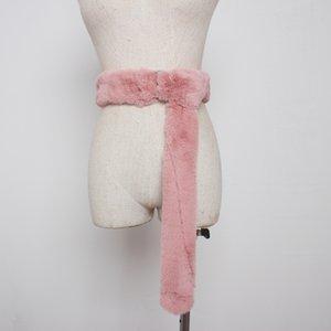 LANMREM Leopard print double ring buckle belt for female decorative windbreaker coat casual all-match faux fur wide belt YJ755