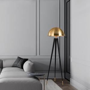 Простой современный грибной Gold Tripod Торшер Офис Отель Showroom Спальня Гостиная Постоянный светильник