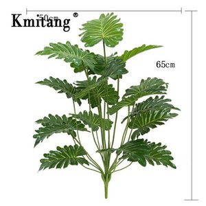 65cm 18 Fork Large Fake Palm Tree Plastic Artificial Plant Monstera Tropical Leaves For Living Room Hawaiian Theme Party Decor 1029