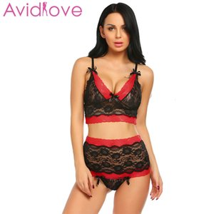 Avidlove Sexy Underwear Lingerie Women Underwire Lace Bra and Crotchless Panties Thong Erotic Hot Sex Costume Exotic Apparel S18101509