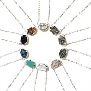 Luxury Druzy stone Pendant necklace kendra For women Geometric Healing Natural stone Scott Silver chains Fashion Jewelry in Bulk