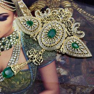 Sunspicems Gold Couleur Broche marocaine pour femme Caftan Caftan Grand Taille Full Strass Banquet Arabe Bijoux Bijoux Bijoux Bridal Cadeau 201009