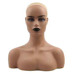 Stand perruque PVC formation têtes malléables demi-réaliste Body Double épaule pour l'affichage Bijoux perruques Hat