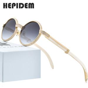 2020 New High Quality Men Round Sunglasses Brand Designer Luxury Diamond Sumptuous Sun for Women Buffalo Horn Glasses