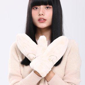 Winter monochrome mittens embroidered women's Plush warm fingertips imitation rabbit cashmere cute gloves