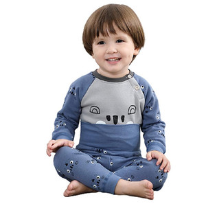nanjiren Baby suit boys and girls plus velvet thermal underwear pajamas suits can be worn in all seasons to keep your baby warm