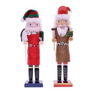 Myblue 38 centímetros Europa Vintage Chef Estátua Nutcracker Escultura Estatueta Natal da boneca Ornamentos Sala Principal Acessórios Decoração