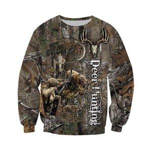 Mens Fashion-Bowhunting cervos Camo 3DAll Ao longo Impresso Hoodie Harajuku moda camisola Unisex pulôver Casual sudadera hombre KJ028 201019