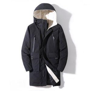Men's winter long cotton clothes warm hooded long winter coat1