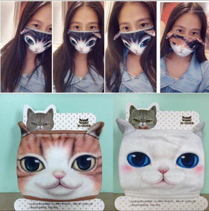 US STOCK 3D Cartoon Designer Mask Cat Dog Personality Washable masks Cotton Dustproof Mouth Face Mask Cycling Party reusable Masks