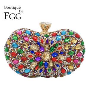 Boutique De FGG Multicolored Diamond Women Clutch Evening Bags Bridal Crystal Flower Handbags Purses Wedding Party Dinner Bag Q1106