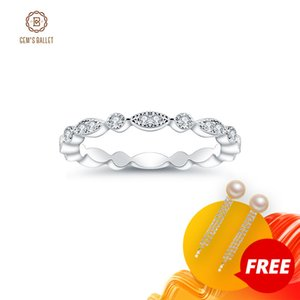 GEM'S BALLET 0.008Ct Moissanite Ring EF color Eternity Band 925 Sterling Silver Wedding Band For Women Fine Jewelry 201112