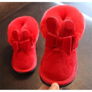 Девушки сапоги кролика лук красные розовые ботинки лодыжки теплые меховые животные Новый снег Нина Запатос детский малыш зимняя обувь SANDQ BABY LJ201030
