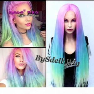 Premium Sexy Beauty Lady Pastel Pink Blue Purple Green Colorful Rainbow Hair FRONT LACE wig Synthetic Anime Cosplay Lace front Wigs