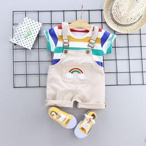 2pcs set Summer Baby Boys Clothes Set Cartoon Toddler Baby Infant Girls Outfits T-shirt+Bib Pants Kids Clothing Sets Tracksuit 201013