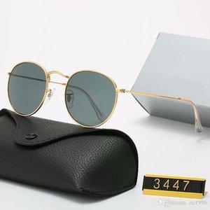 2021 Diseño clásico Marca Redondo Gafas de sol UV400 Gafas de oro Metal Marco de oro Gafas Hombres Mujeres Espejo Lente de vidrio Gafas de sol con caja