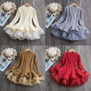 Autumn Winter Girl Sweater Dress Knitting Long Sleeve Ruffle Gauze Kid Dresses Cold Keep Warm Baby Girls Kids Clothes 45an L2