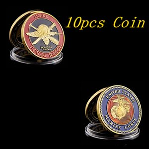 10pcs U.S. Marine Corps Challenge Coin - Force Recon - USMC Military Gold Plated Coin Collection