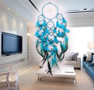 Handmade Dream Catcher Wind Chime Net Net Natural Feather Make Home Arredamento Ornamento Decorare la parete blu appesa delicata 11 5JY M2