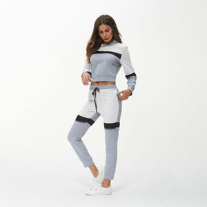 Survetement Femme 2 Piece Set Tracksuit Women Clothes 2021 Autumn Lady Hooded Crop Top + Pants Sweat Suits Ropa Deportiva Mujer
