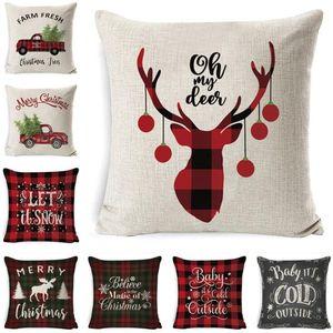 Weihnachtskissen Fall Plaid Leinen Wurfkissenbezüge Quadratisches Sofa Dekorative Kissen Kopfstütze Kissenbezug Weihnachten Kissenlip Home Decor ZGY122