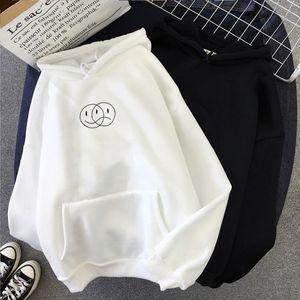 Smile Sad Face Streetwear Sweatshirt Men Women Casual Pullover Hip Hop Long Sleeve Line Print Hoodies Student Sportswear Tops