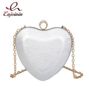 Heart Shaped Design Ring Leather Pu Leather Ladies Party Clutch Bag Evening Bag Chain Purse Bolsa Crossbody Mini Messenger