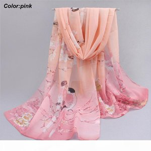 Best price 2016 new latest fashion summer long pink chiffon scarf beach sunscreen scarf with Chinese style pattern