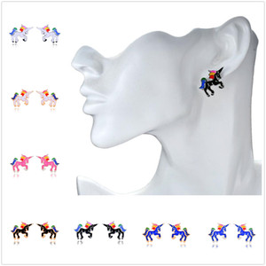 New Fashion Creative Women Unicorn Earrings Colorful Alloy Ear Stud Jewelry Lovely Gift Decoration Free Shipping