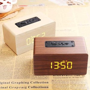 2 In 1 Wireless Wooden bluetooth Speaker Alarm Clock Subwoofer Hi-Fi FM Radio Music Player TF USB Portable Subwoofer