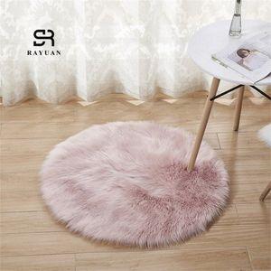 RAYUAN redondo rosado de piel de oveja Hairy Alfombra Faux tapiz de asiento del cojín de piel normal mullido suave manta de área de 30 140 cm Tapetes xhHa #