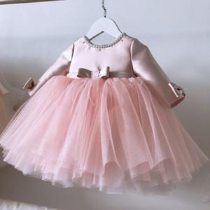 Pink Lace Baby Girl Vestidos Bautismo Vestido Beads Bow 1st Fiesta de cumpleaños Boda Boda Bankening Bata Infantil Recién nacido Pago de ropa Q1223