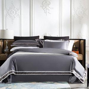 Chic Iniziale Hotel Breve Style morbidezza serica cotone egiziano Camera Copripiumino insieme lenzuolo federa Regina King Size Lusso Com 1wh1 #