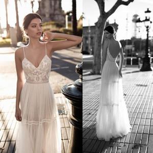 Gali Karten 2019 Wedding Dresses Bridal Gowns Lace Applique Berta Bohemian Spaghetti Straps V-Neck Backless Floor Length Real Image