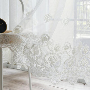 Coreano Pure Lace Blanco Bordado Cortina Voile para la sala de estar Dormitorio Bordado Sheer Tulle Window Panel de tratamiento AD324D3