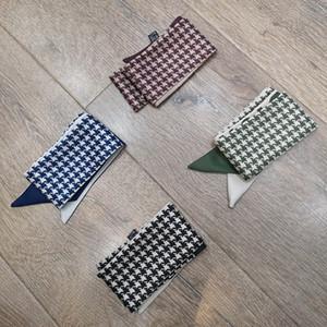 2021 дизайнер Houndstooth шарф шелковый шарф мода повязка на голову роскошные бренды шарф женские шелковые выстраивает верхний сорт шелковый глушитель полосы волос 100 * 5см