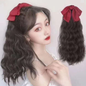 b3Zm4 New bowknot butterflyhorsetail bandage long curly net red bow New bowknot Wig Butterfly butterfly butterflyhorsetail bandage long curl