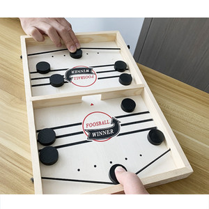 Puck Game Fast Sling Wooden Durable Air Hockey Board Game Toy Parent-child Interactive Game Chess Prop Foosball Table Board Games DBC BH4596
