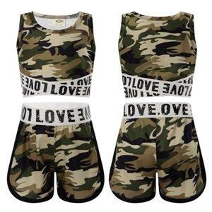 2pcs enfants filles camouflages lettres print sport costume rond coulée gym gym yoga running cardal de culture + courts de ceinture
