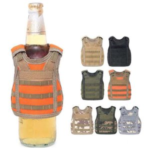 Beverage Koozie Vest Military Molle Mini Beer Cover Vest Cooler Sleeve Adjustable Shoulder Straps Beer Cover Bar Party Decoration