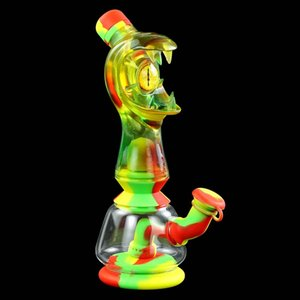 """8.8""""glass silicone water pipe water leakage proof glass bongs oil rig tobacco water pipes"""