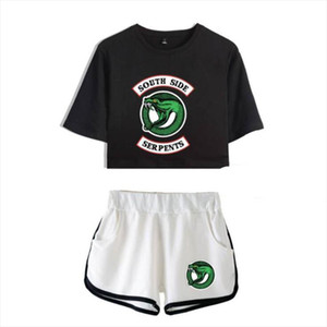 Summer Womens Sets Riverdale South Side Serpents Short Sleeve Crop Top Shorts Sweat Suits Women Tracksuits Two Piece Outfit